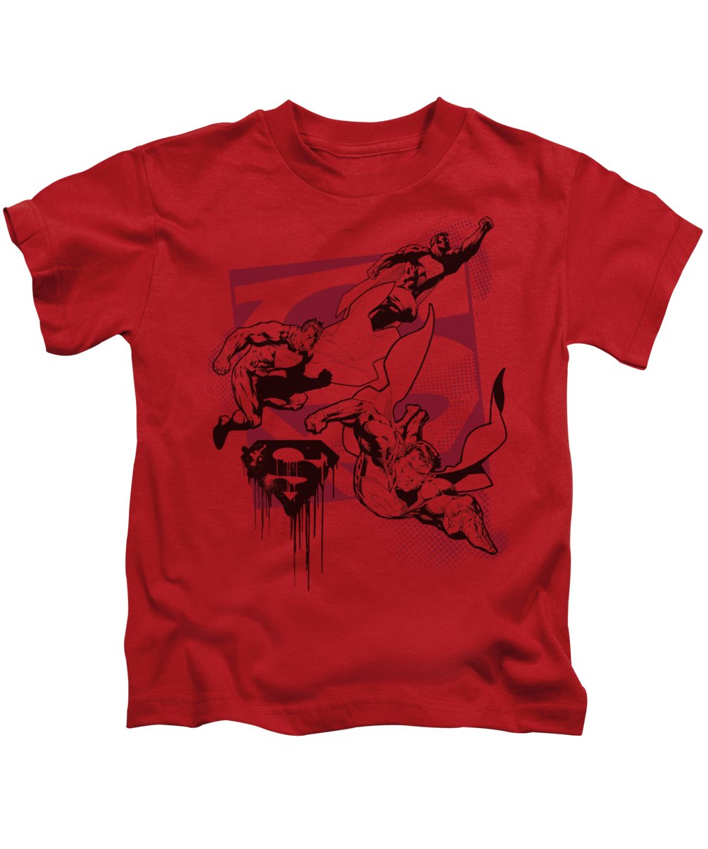 Superman Kids T-Shirt featuring the digital art Superman - Omnipresent by Brand A