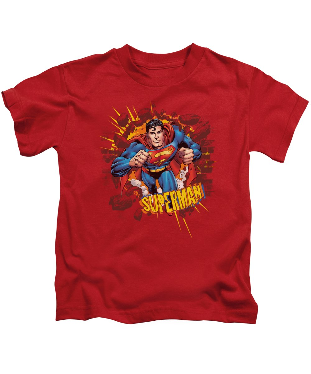 Superman Kids T-Shirt featuring the digital art Superman - Sorry About The Wall by Brand A