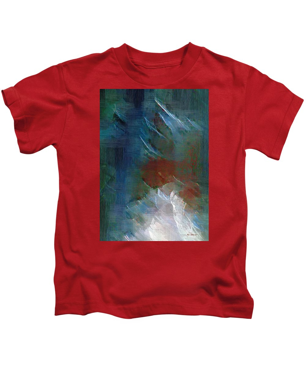 Abstract Kids T-Shirt featuring the painting Swallowing Words by RC DeWinter