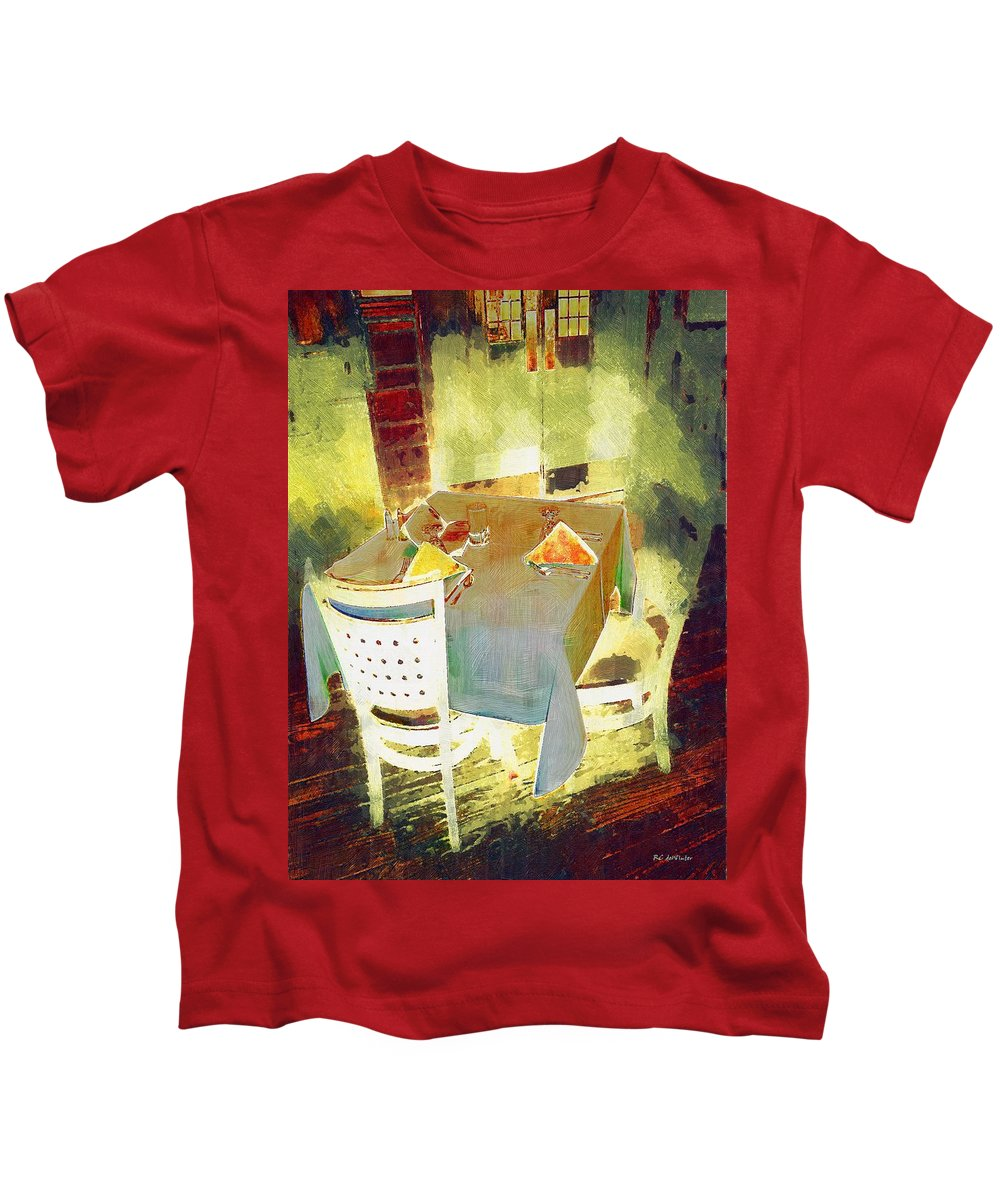 Cafe Kids T-Shirt featuring the painting Table At The Fauve Cafe by RC DeWinter