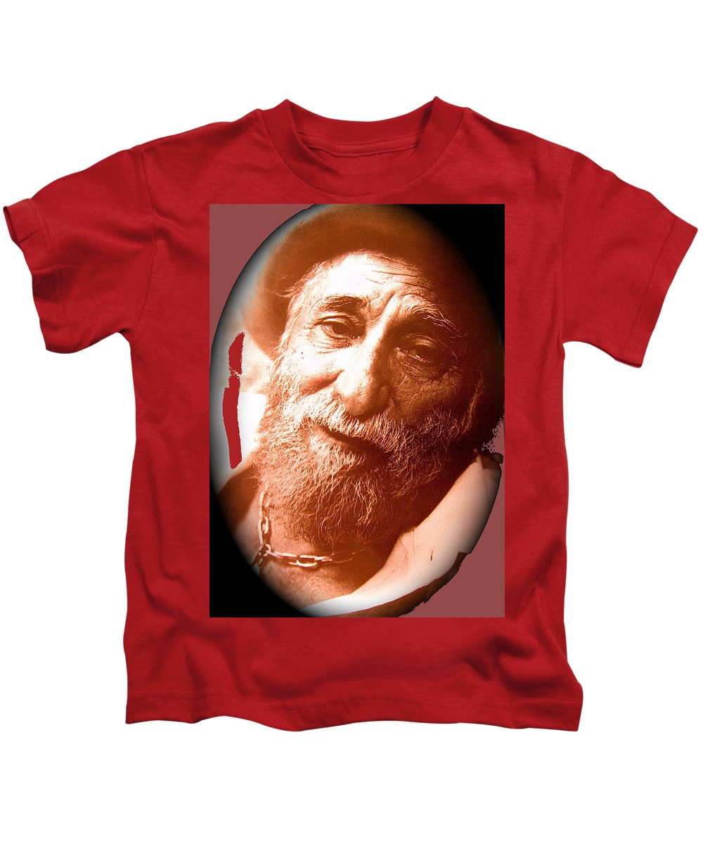 Ted Degrazia Portrait By Henry Redl Circa 1980-2013 Kids T-Shirt featuring the photograph Ted Degrazia Portrait By Henry Redl Circa 1980-2013 by David Lee Guss