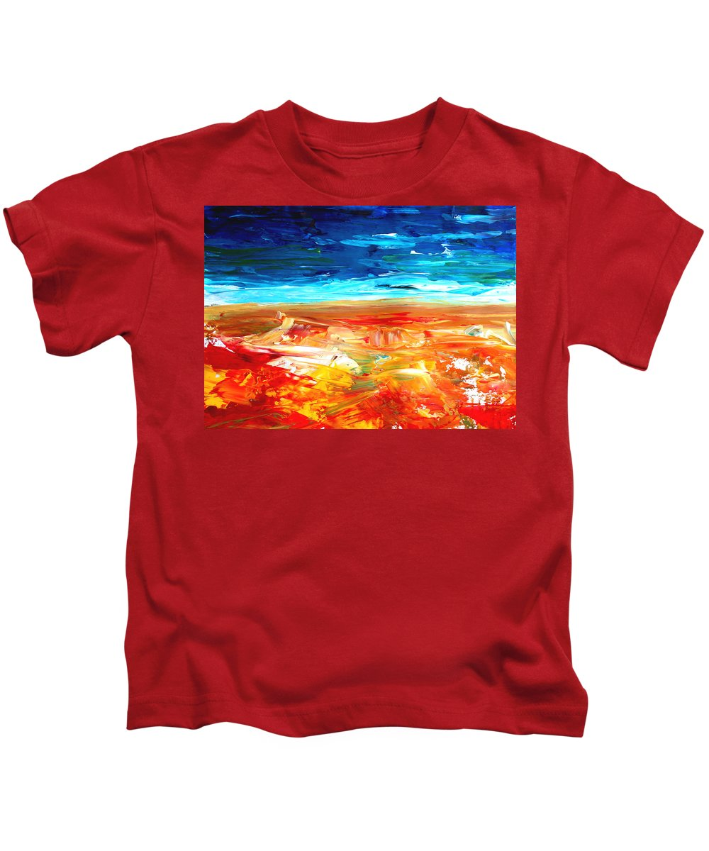 Abstract Art Kids T-Shirt featuring the painting The Abstract Rainbow Beach Series II by M Bleichner