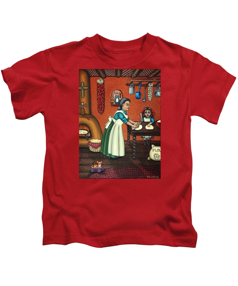 Folk Art Kids T-Shirt featuring the painting The Lesson Or Making Tortillas by Victoria De Almeida