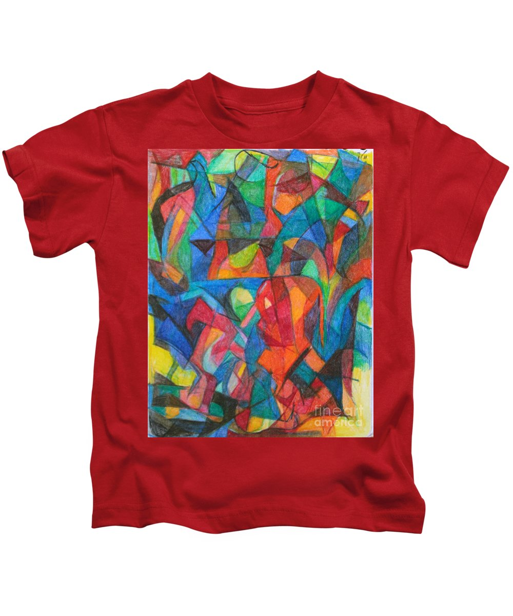 Kids T-Shirt featuring the drawing The Letter Raish 2 by David Baruch Wolk