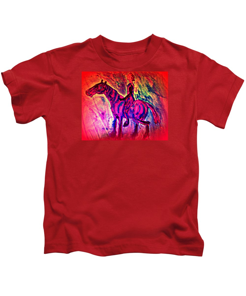 Rider Kids T-Shirt featuring the painting The pink knight is coming to resque you by Hilde Widerberg