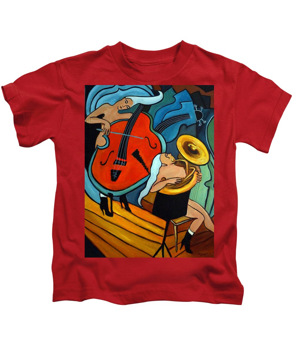 Musician Abstract Kids T-Shirt featuring the painting The Tuba Player by Valerie Vescovi