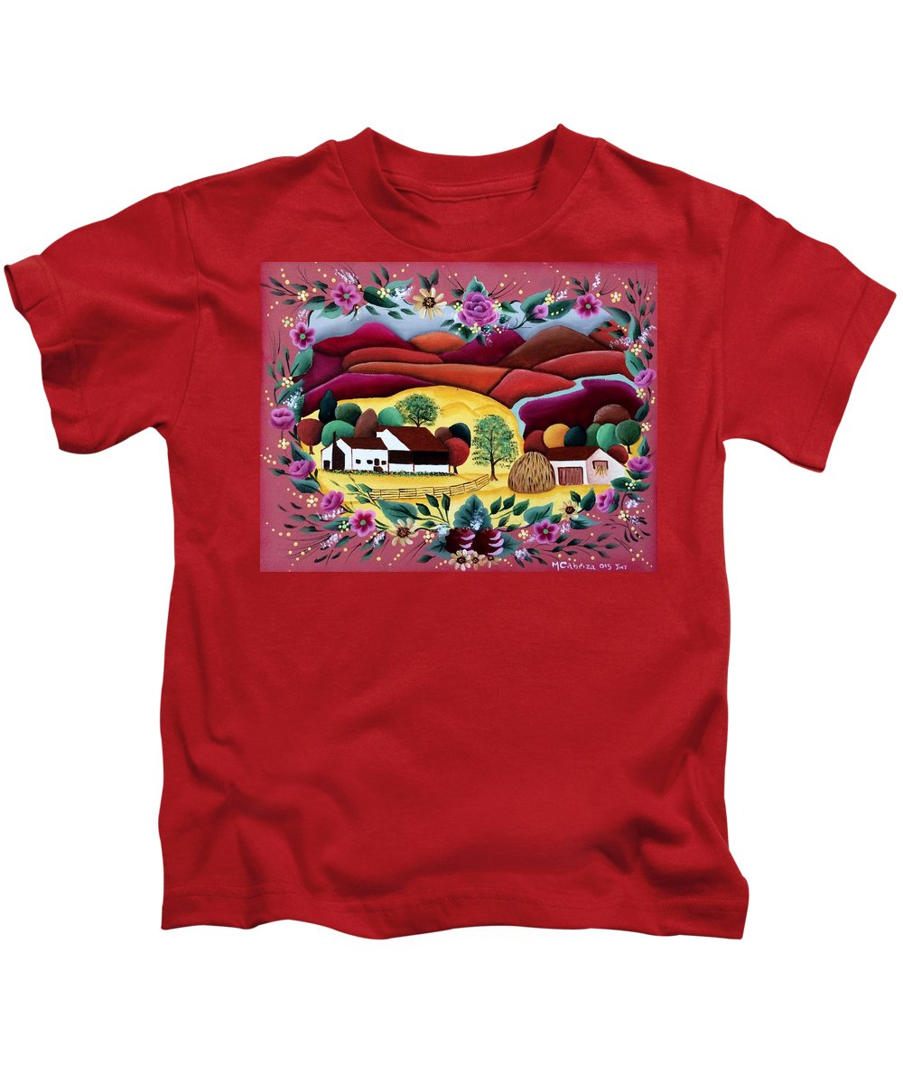 Landscape Kids T-Shirt featuring the painting The Valley by Maria Cabriza