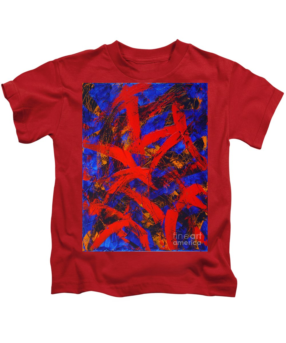 Abstract Kids T-Shirt featuring the painting Transitions With Blue And Red by Dean Triolo