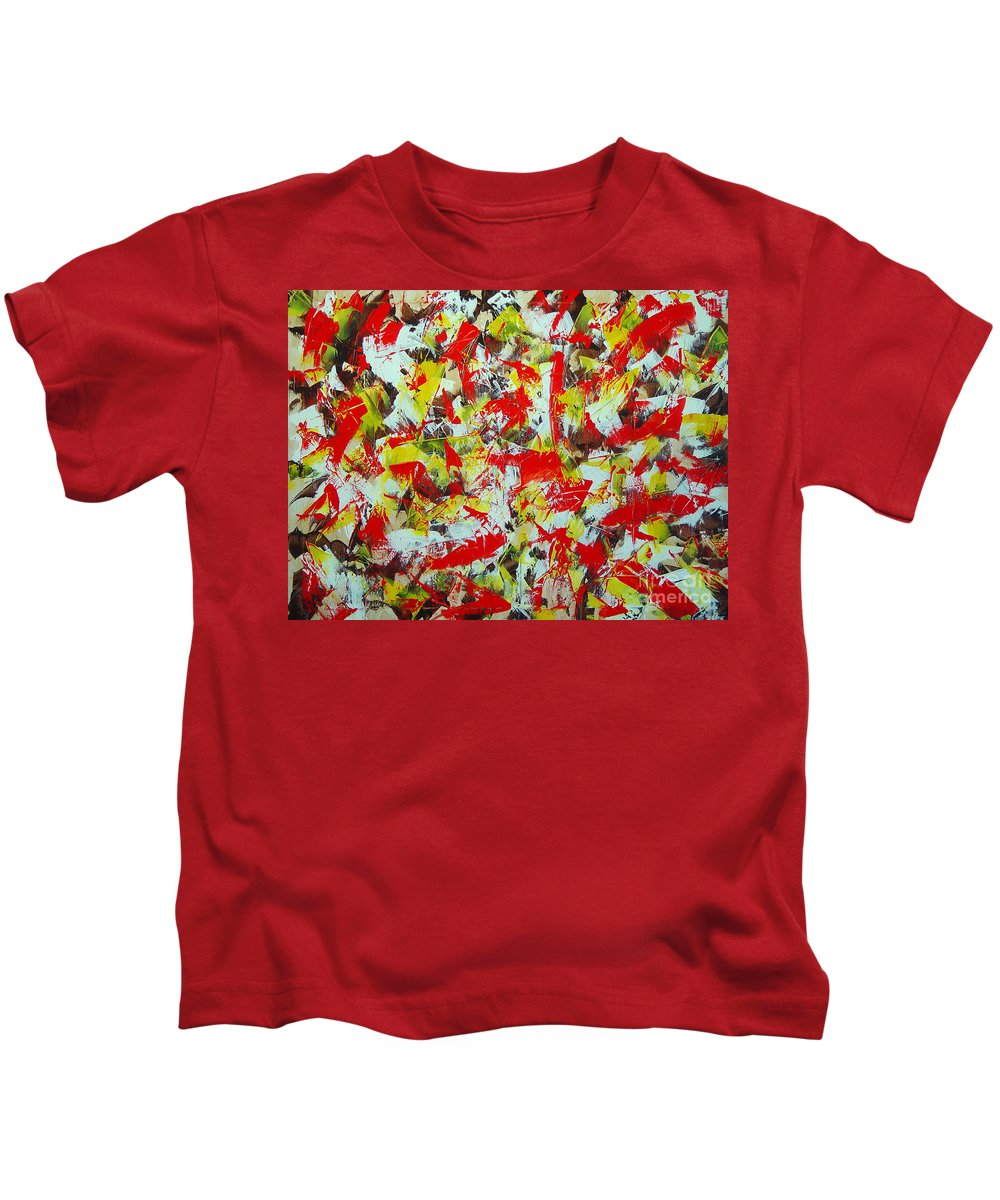 Abstract Kids T-Shirt featuring the painting Transitions With Yellow Brown And Red by Dean Triolo