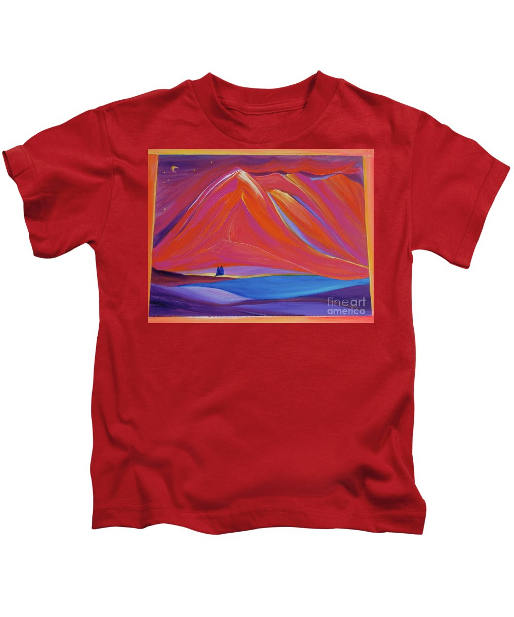 Mountains Kids T-Shirt featuring the painting Travelers Pink Mountains by First Star Art
