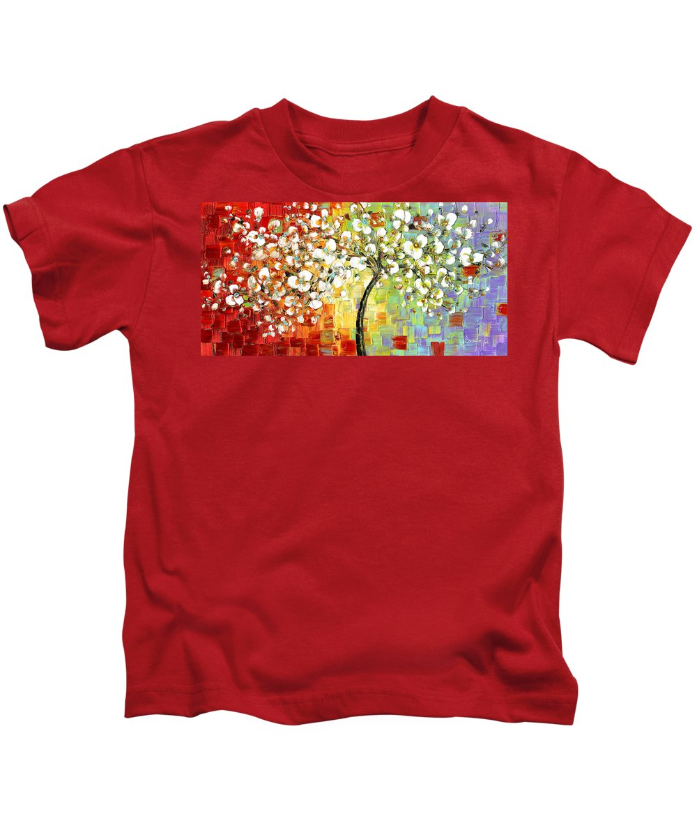 White Kids T-Shirt featuring the painting Tree Of Joy by Susanna Shaposhnikova