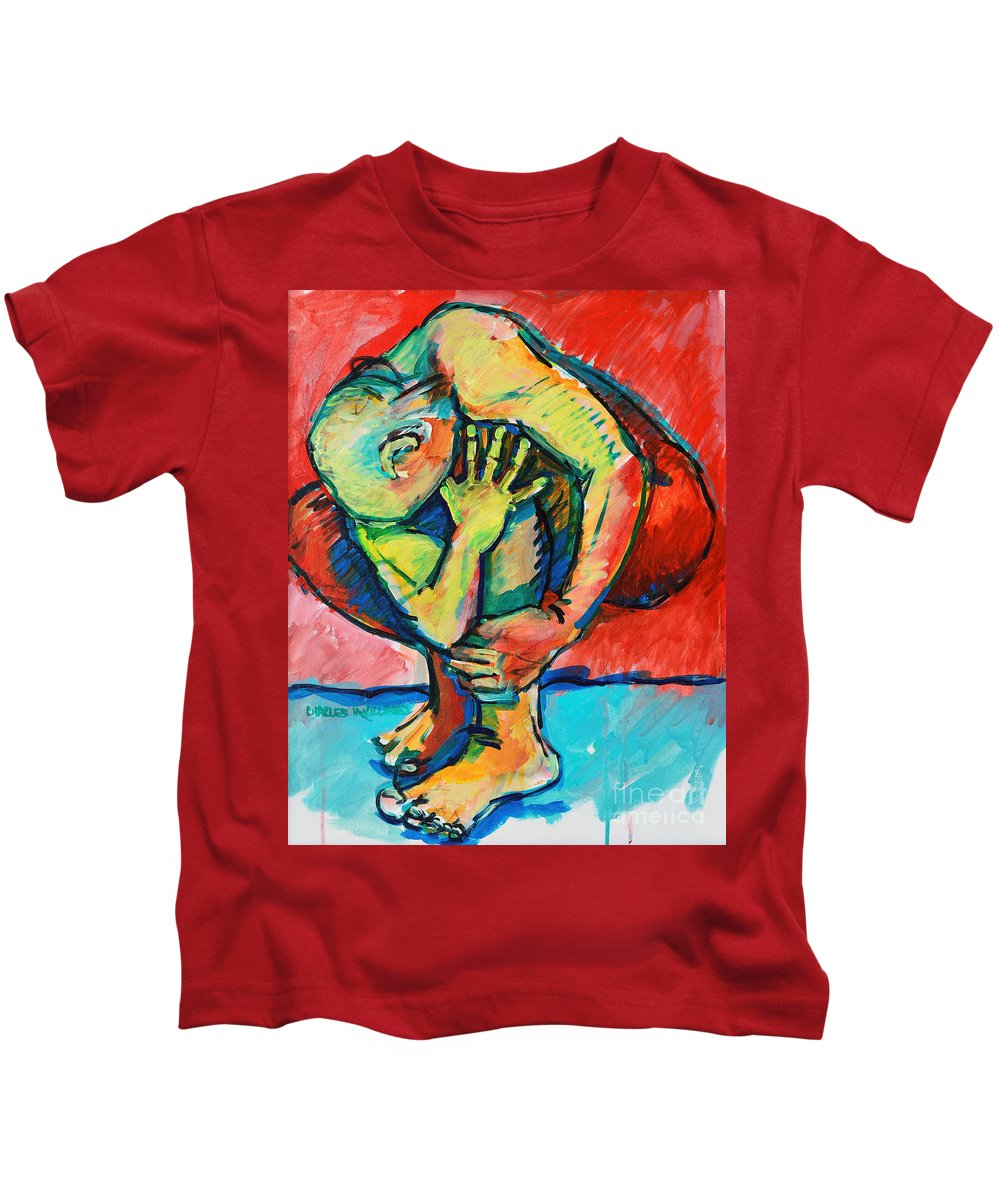 Struggles Kids T-Shirt featuring the painting Trilogy - N My Soul 2 by Charles M Williams