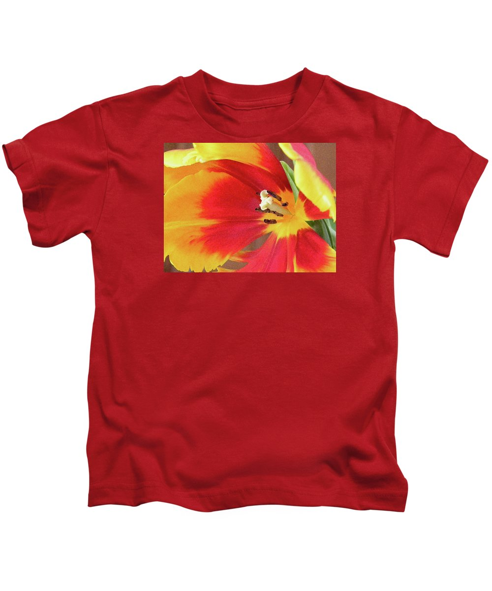 Tulip Kids T-Shirt featuring the photograph Tulip Warm Tones by Sandi OReilly