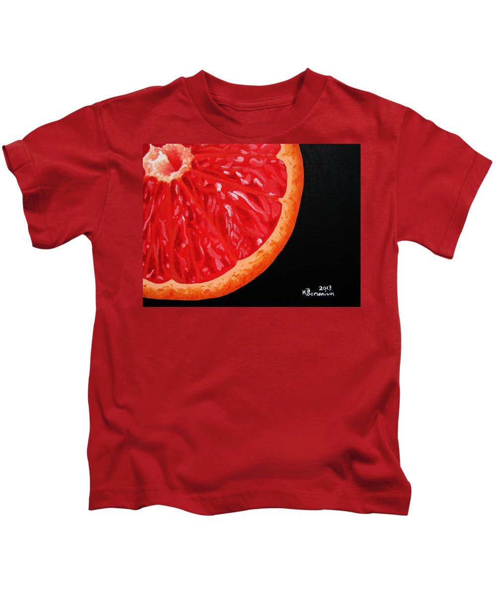 Grapefruit Kids T-Shirt featuring the painting Twisted Passion by Kayleigh Semeniuk