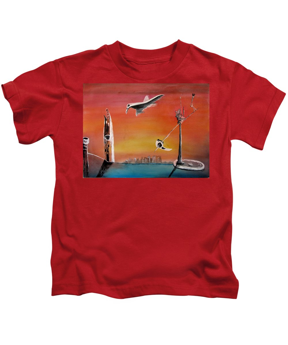 Uglydream Kids T-Shirt featuring the painting Uglydream911 by Helmut Rottler