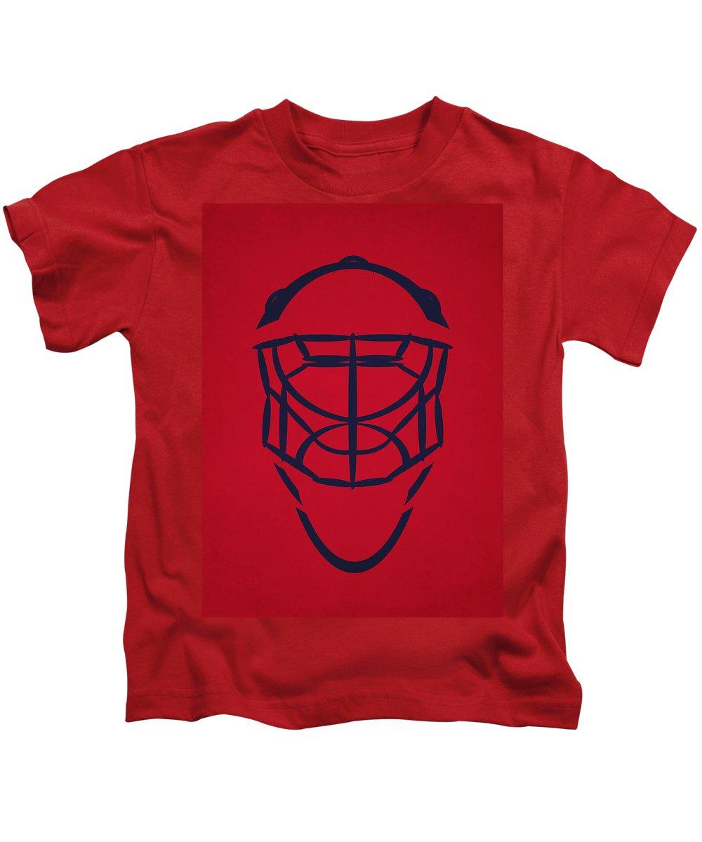 Capitals Kids T-Shirt featuring the photograph Washington Capitals Goalie Mask by Joe Hamilton