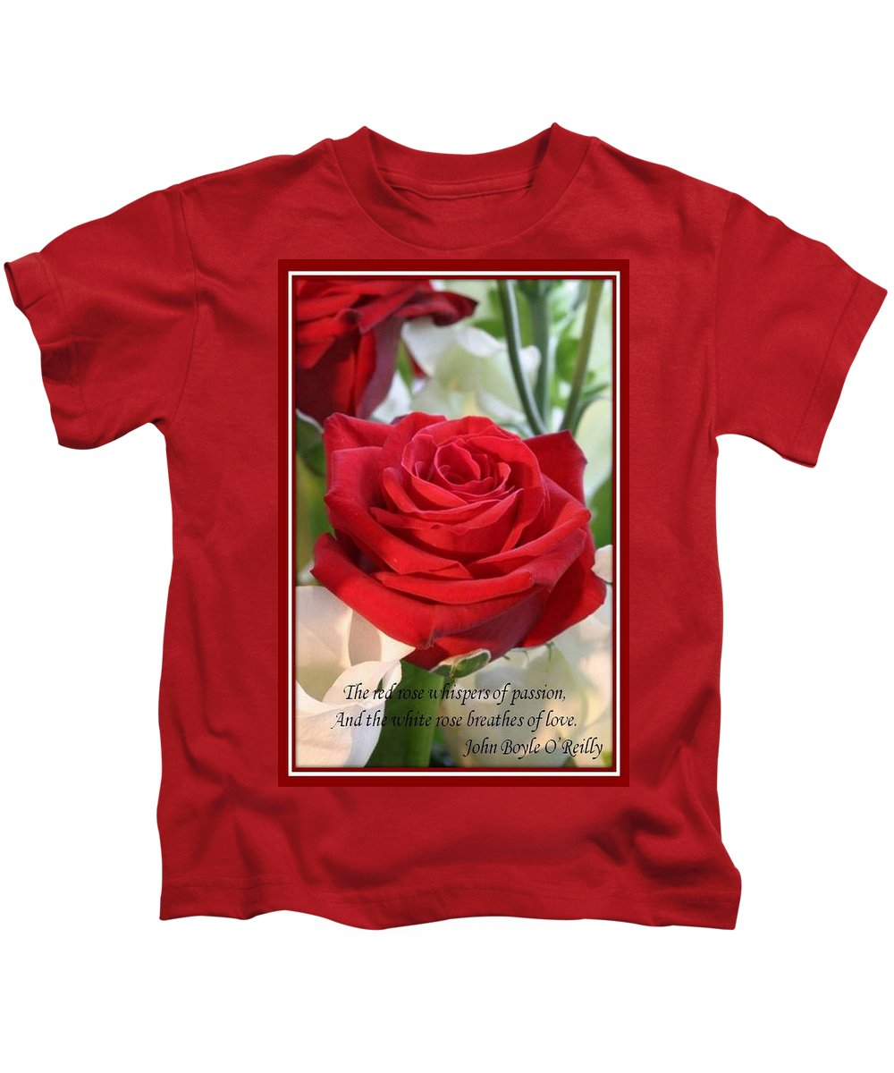 Rose Kids T-Shirt featuring the photograph Whispers Of Passion And Love Red Rose Greeting Card by Taiche Acrylic Art