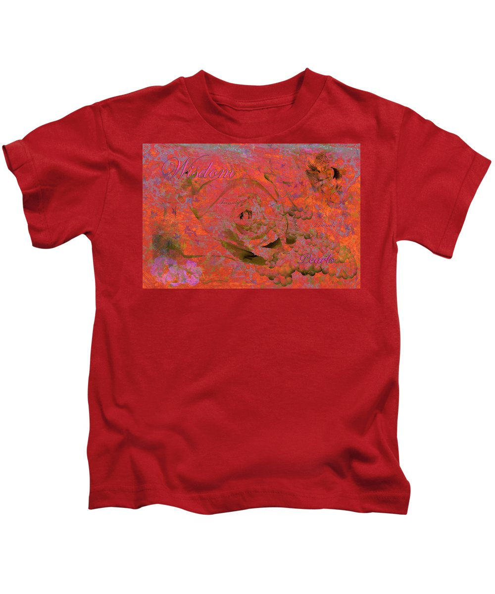 Digital Art Kids T-Shirt featuring the photograph Wisdom Pearls by Phyllis Denton