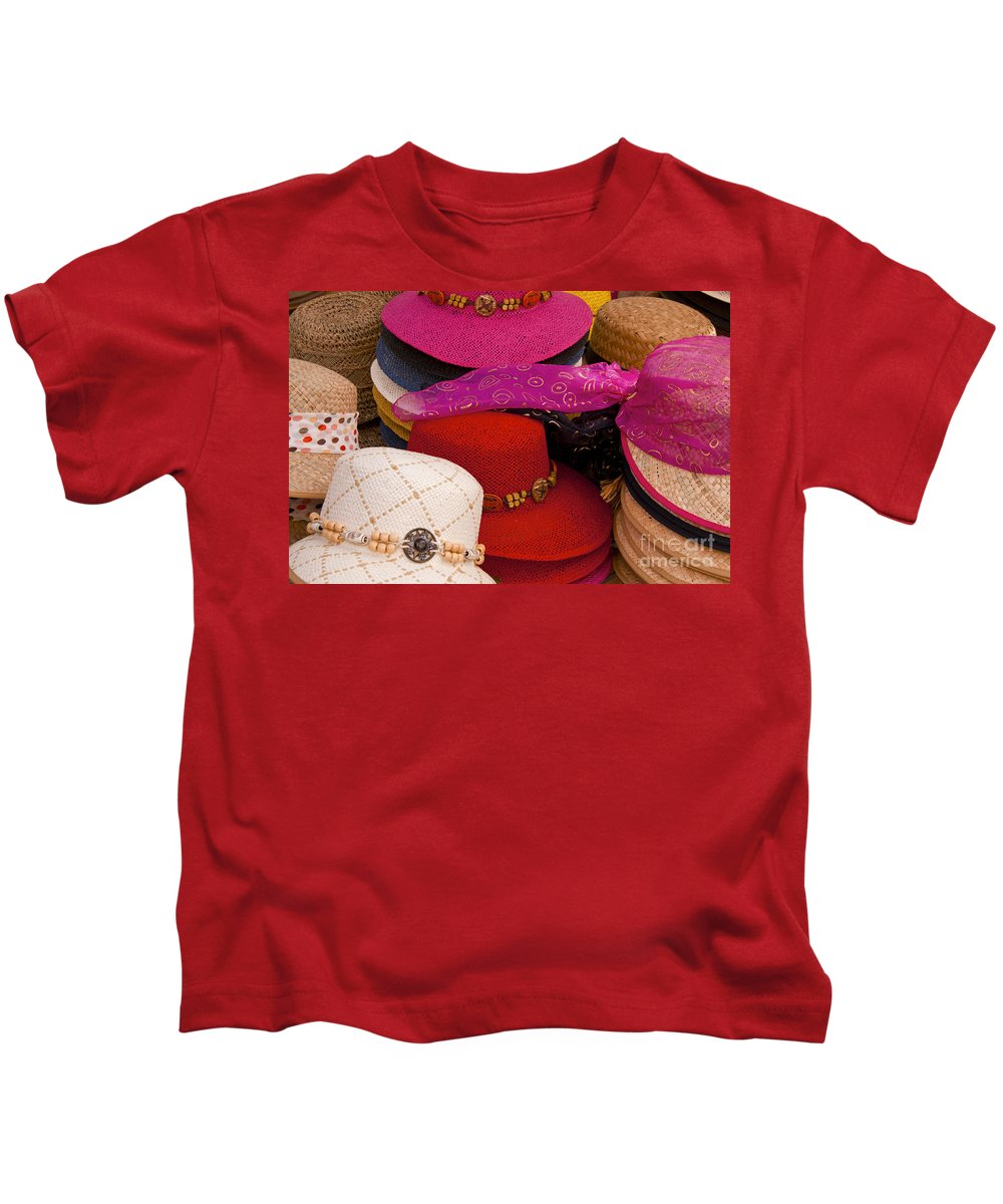 Market Day Apt Markets Hat Hats Still Life Shop Shops Store Stores Provence Kids T-Shirt featuring the photograph Women's Hats by Bob Phillips