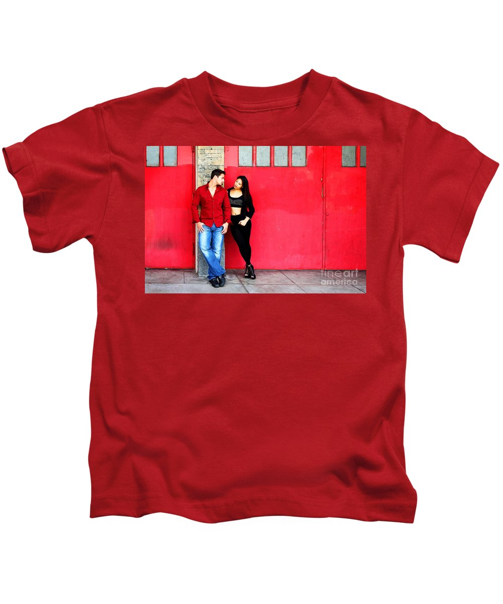 Filipino Kids T-Shirt featuring the photograph Young Couple Red Doors by Henrik Lehnerer