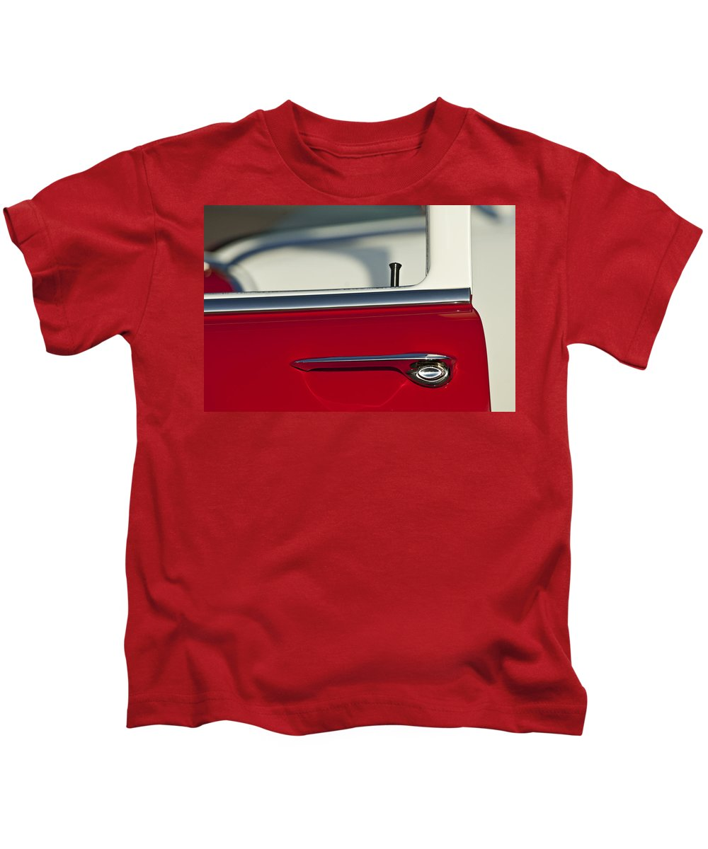 1955 Chevrolet 210 Kids T-Shirt featuring the photograph 1955 Chevrolet 210 Door Handle by Jill Reger