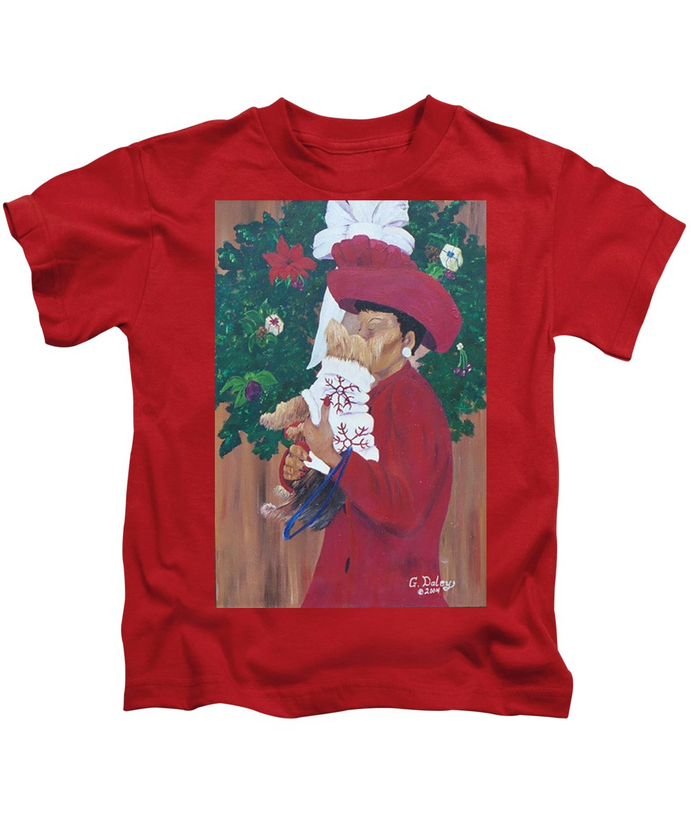 #christmas Prints Kids T-Shirt featuring the painting Christmas Lioness by Gail Daley