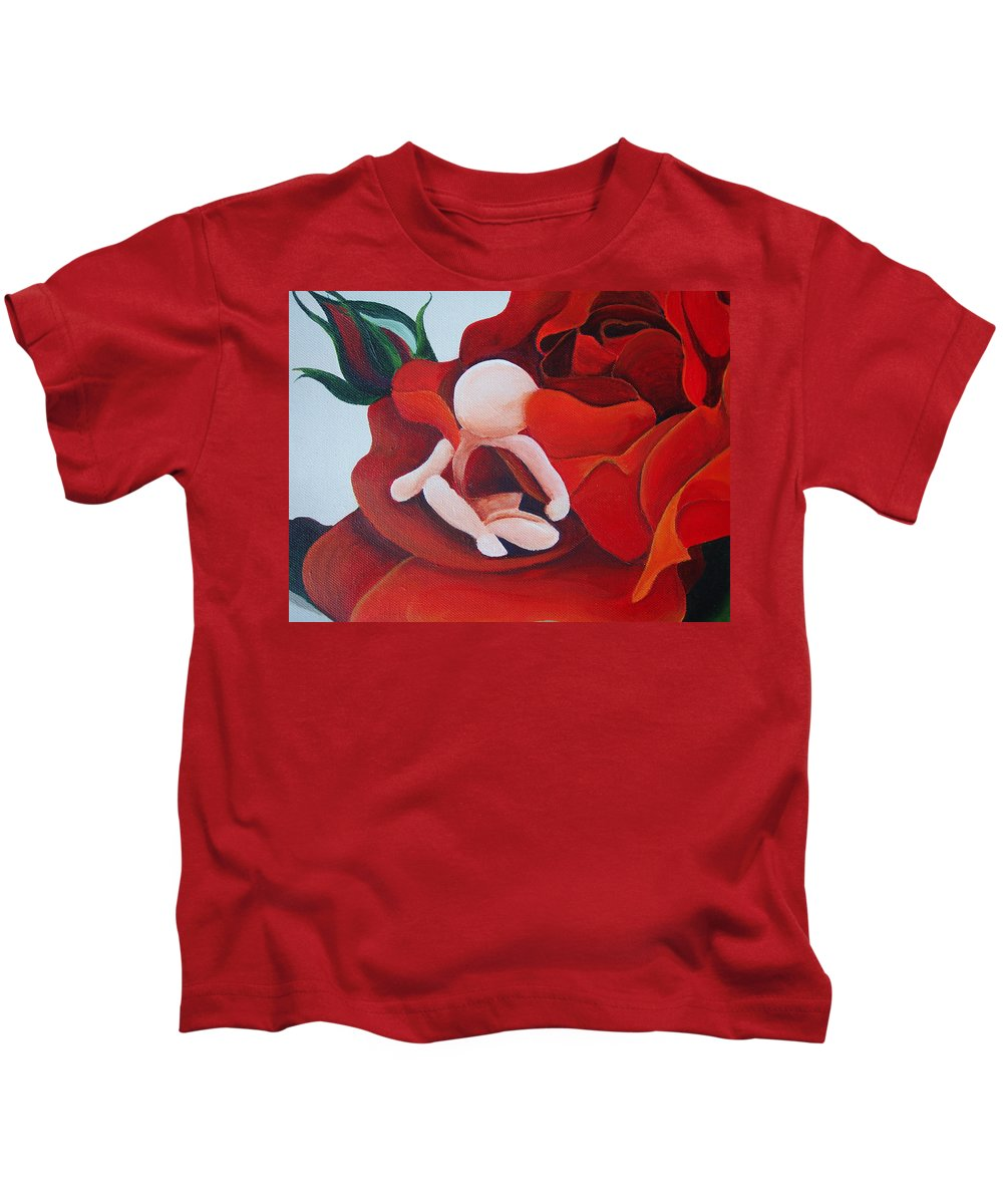 Healing Painting Kids T-Shirt featuring the painting Healing Painting Baby Sitting In A Rose Detail by Catt Kyriacou