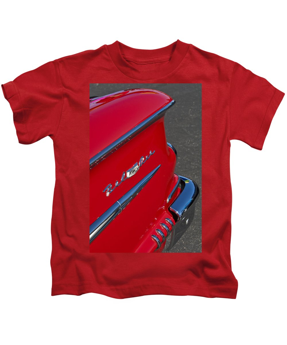 1958 Chevrolet Belair Kids T-Shirt featuring the photograph 1958 Chevrolet Belair Emblem 2 by Jill Reger