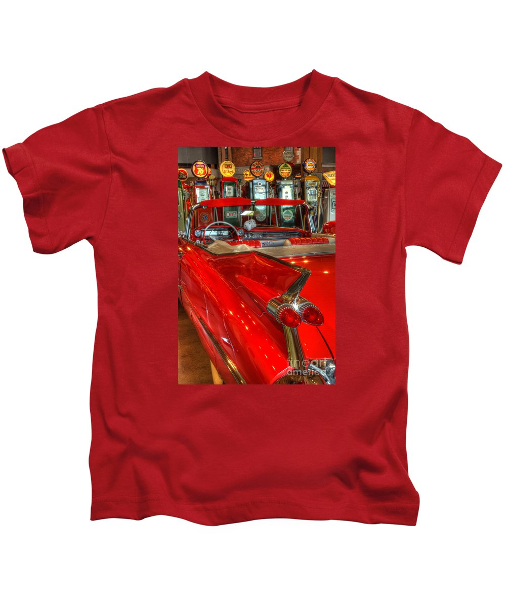 Cars Kids T-Shirt featuring the photograph 1959 Cadillac At The Pumps by Bob Christopher