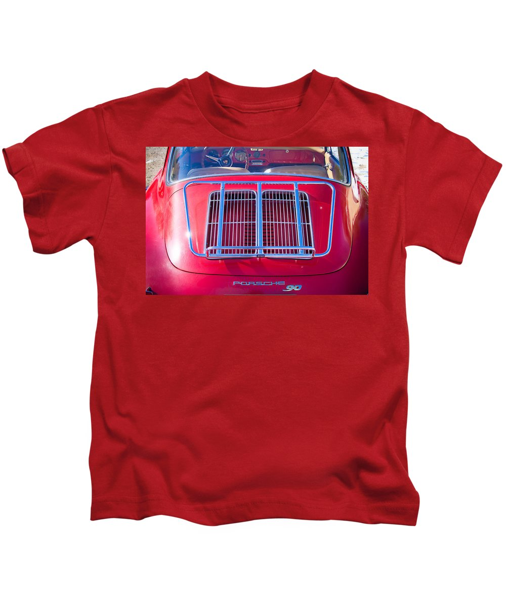 Automobiles Kids T-Shirt featuring the photograph 1963 Red Porsche 356b Super 90 Back End by James BO Insogna