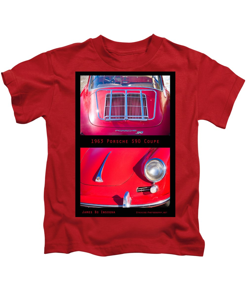 1963 Kids T-Shirt featuring the photograph 1963 Red Porsche S90 Coupe Poster S by James BO Insogna