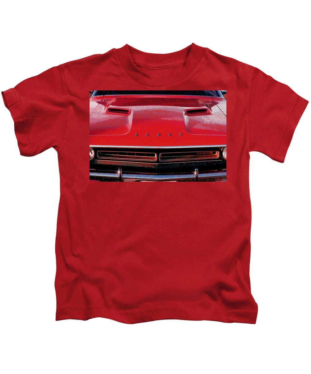 1971 Kids T-Shirt featuring the photograph 1971 Dodge Challenger - Red Mopar Typography by Gordon Dean II