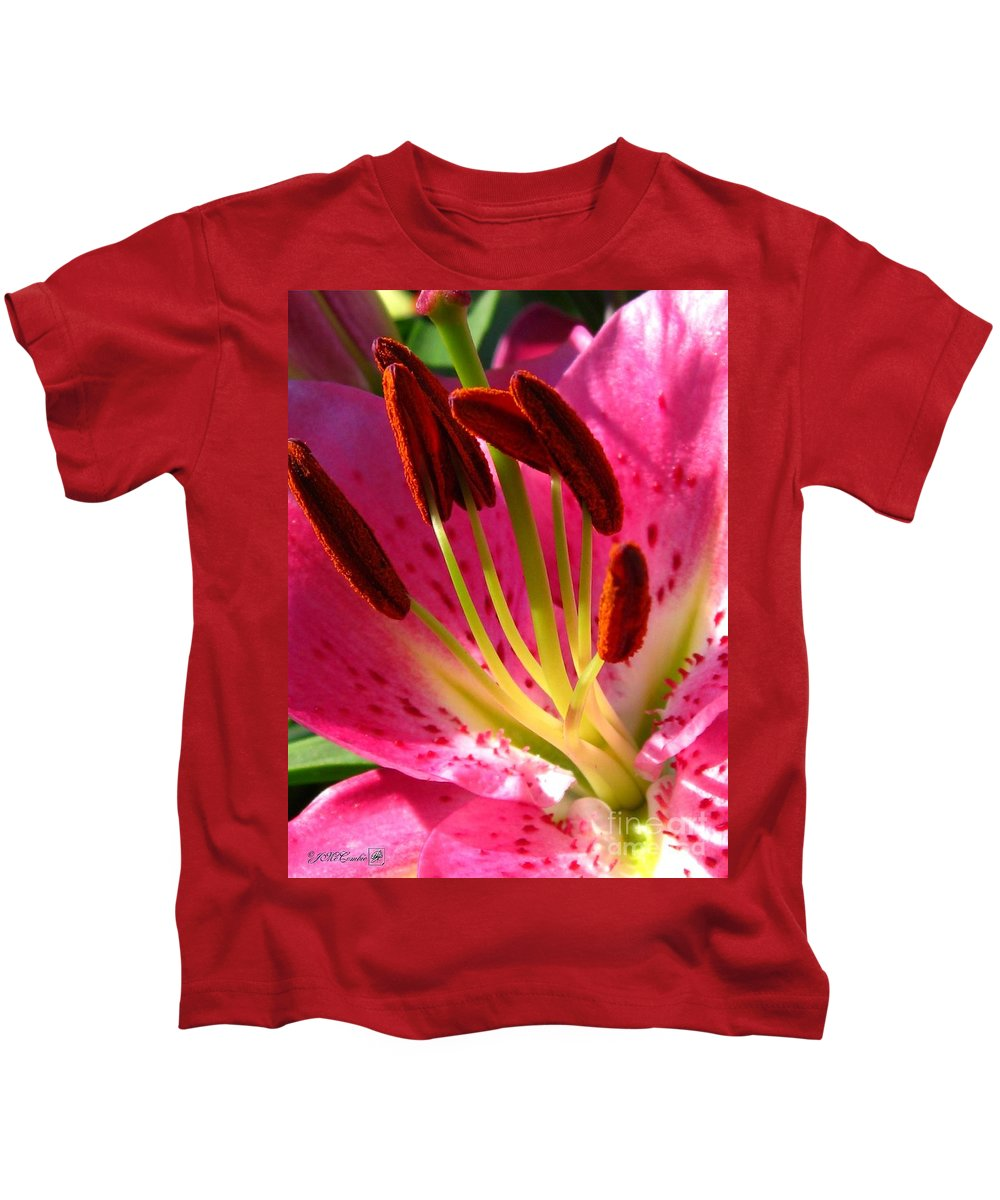 Dwarf Oriental Lily Kids T-Shirt featuring the photograph Dwarf Oriental Lily Named Farolito by J McCombie