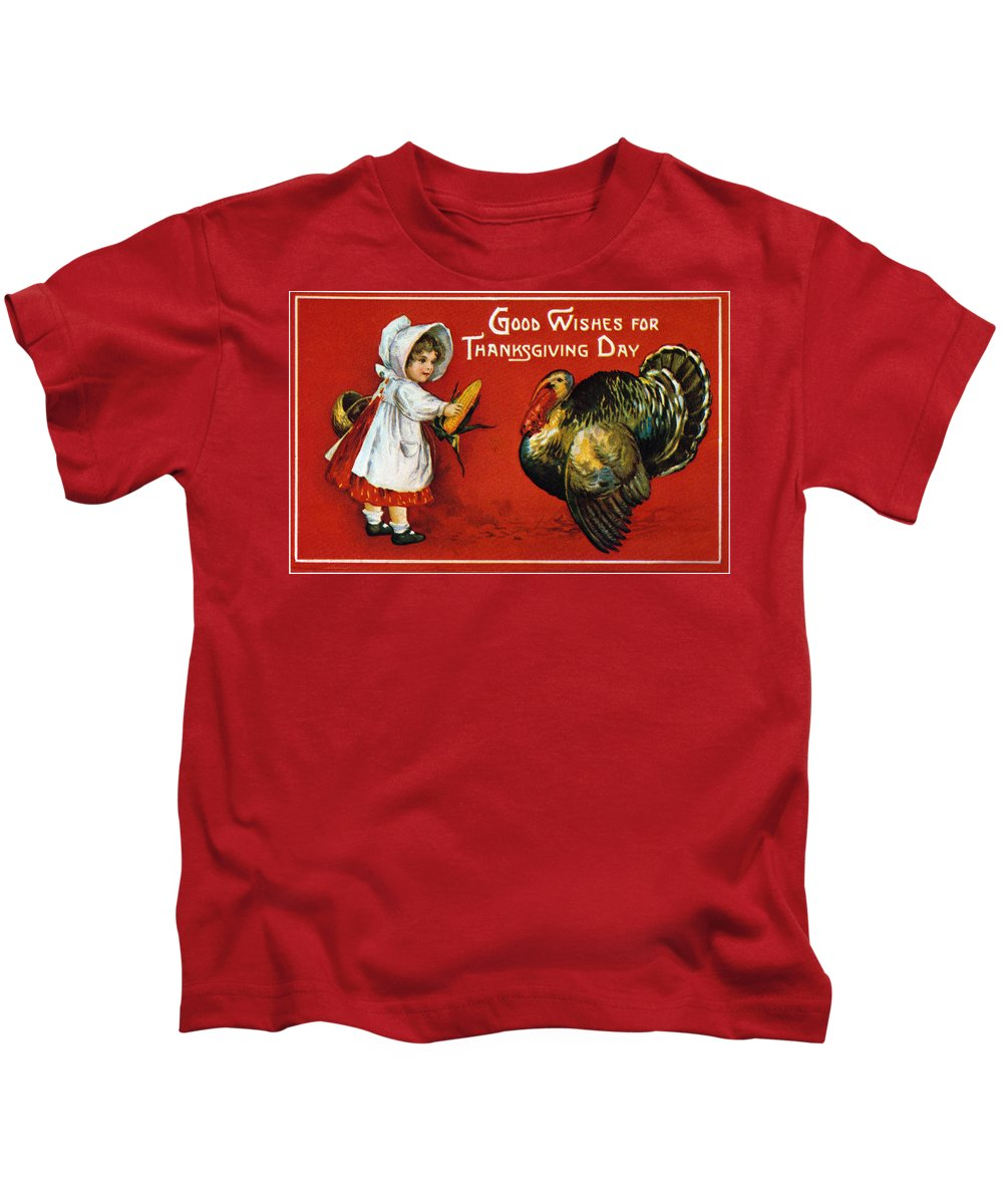 1900 Kids T-Shirt featuring the photograph Thanksgiving Card, 1900 by Granger