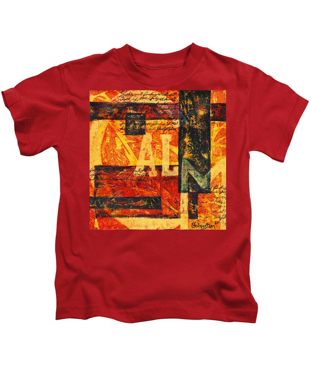 Calm Kids T-Shirt featuring the painting All Is Calm by Cindy Johnston