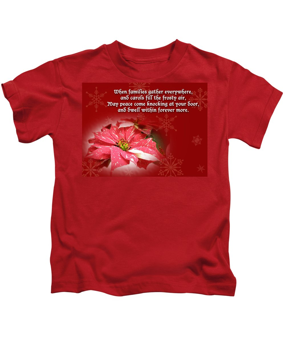 Christmas Kids T-Shirt featuring the photograph Christmas Card - Red And White Poinsettia by Mother Nature