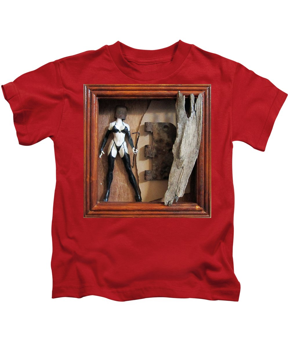 Sculpture Kids T-Shirt featuring the sculpture Controversy by Snake Jagger