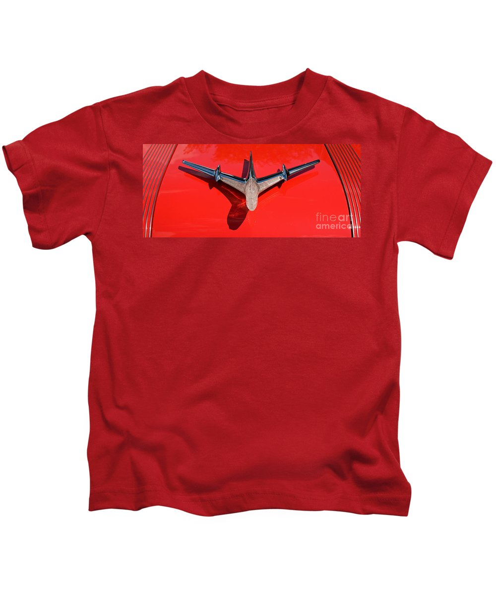 Car Kids T-Shirt featuring the photograph Emblem on Red 2 by Vivian Christopher
