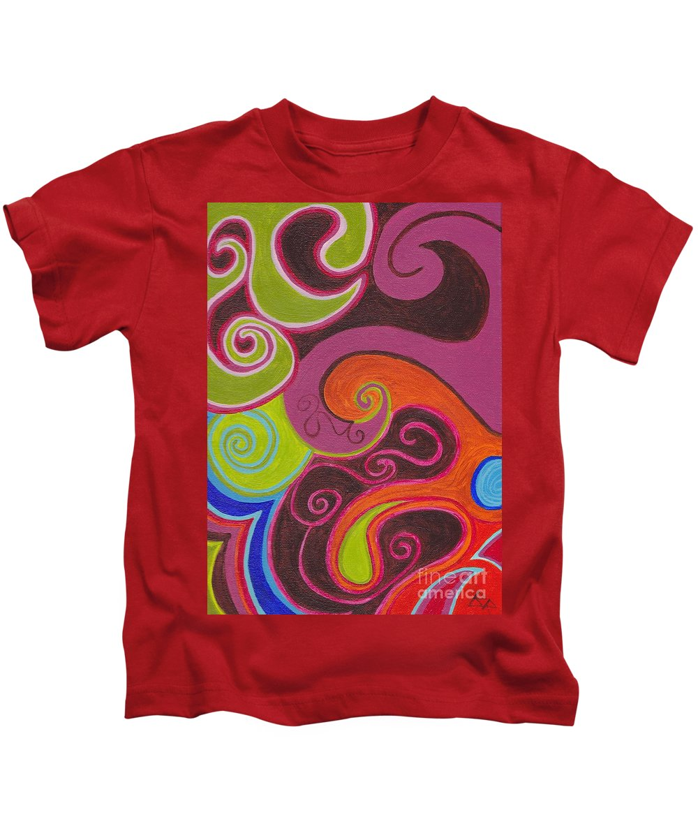 Abstract Kids T-Shirt featuring the painting Firefly by Beth Fowler