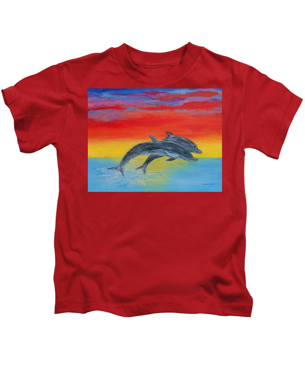 Sunset Kids T-Shirt featuring the painting Jumping Dolphins Right by Jamie Frier