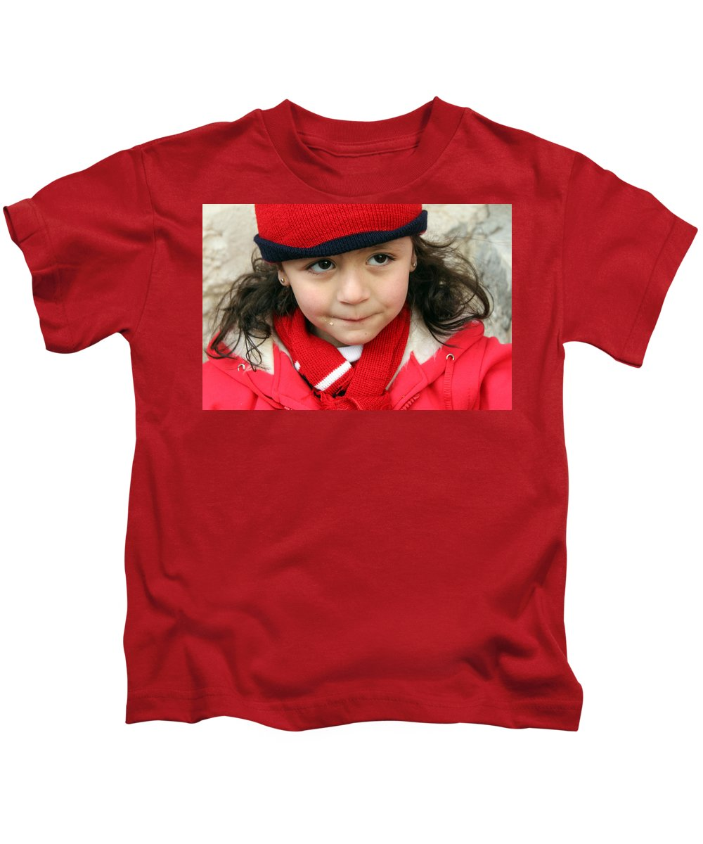 Red Kids T-Shirt featuring the photograph Little Girl In Red by Munir Alawi