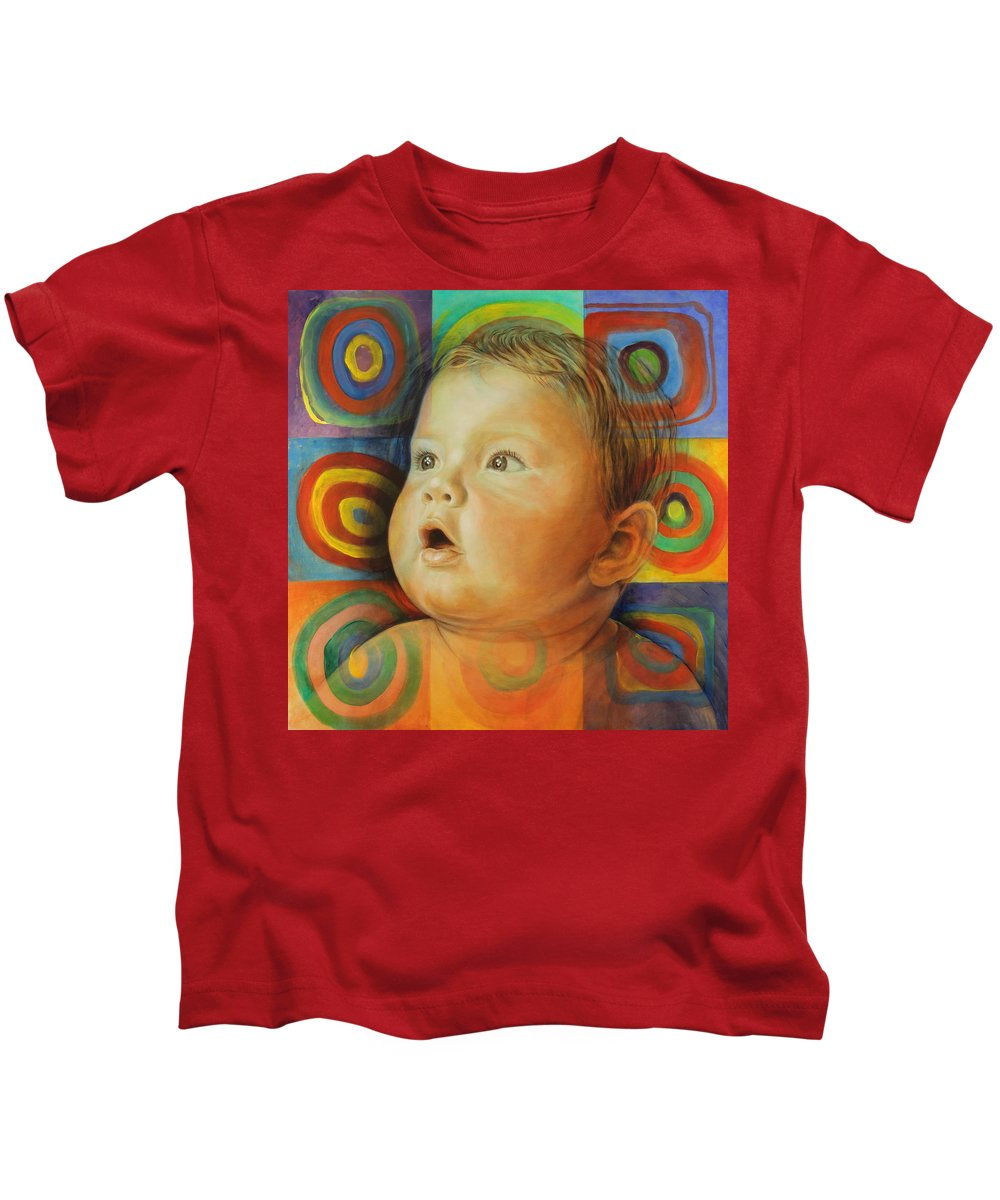Baby Kids T-Shirt featuring the painting Manuel's Portrait by Karina Llergo