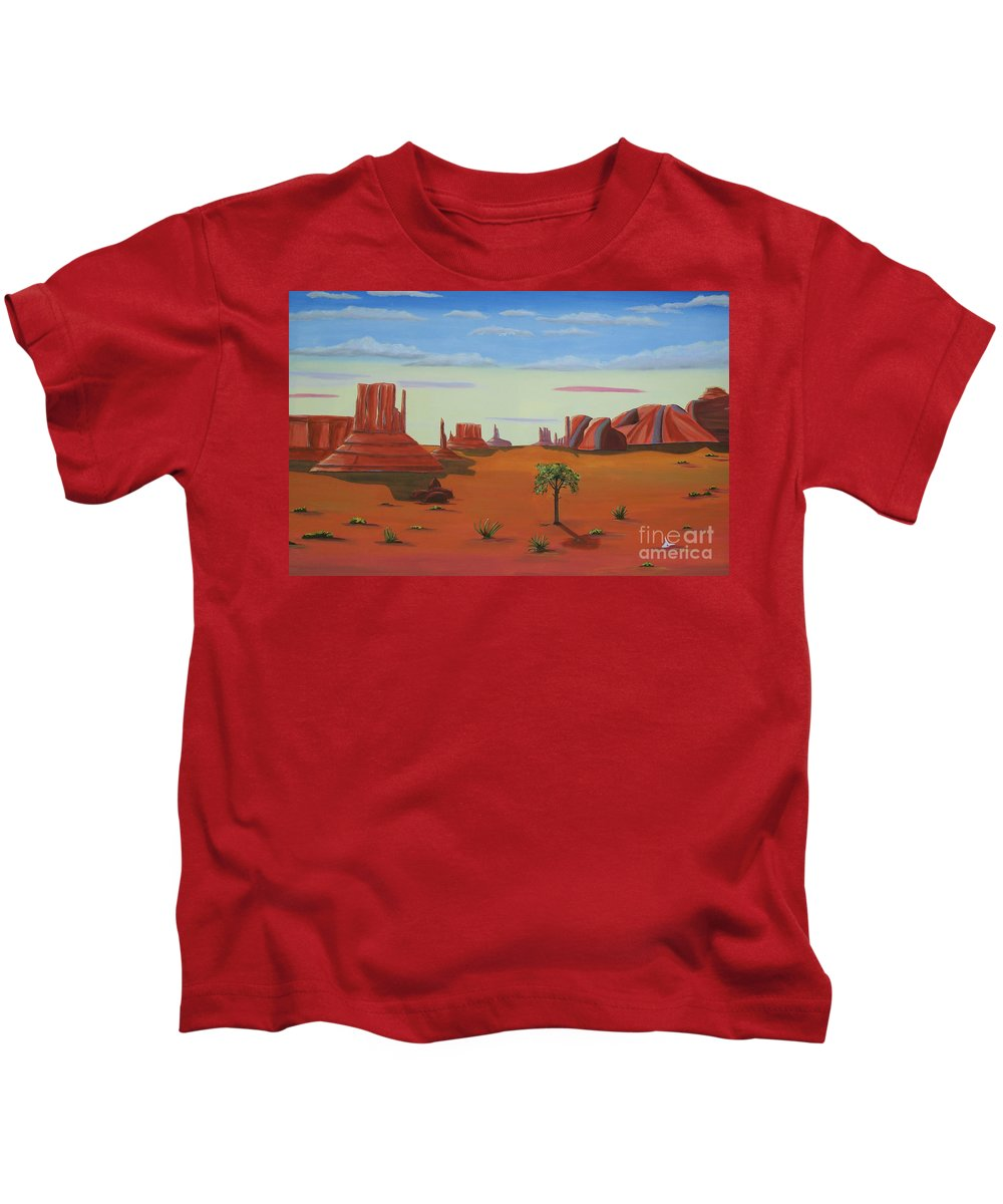 Monument Valley Lone Tree Kids T-Shirt featuring the painting Monument Valley Lone Tree by Don Monahan