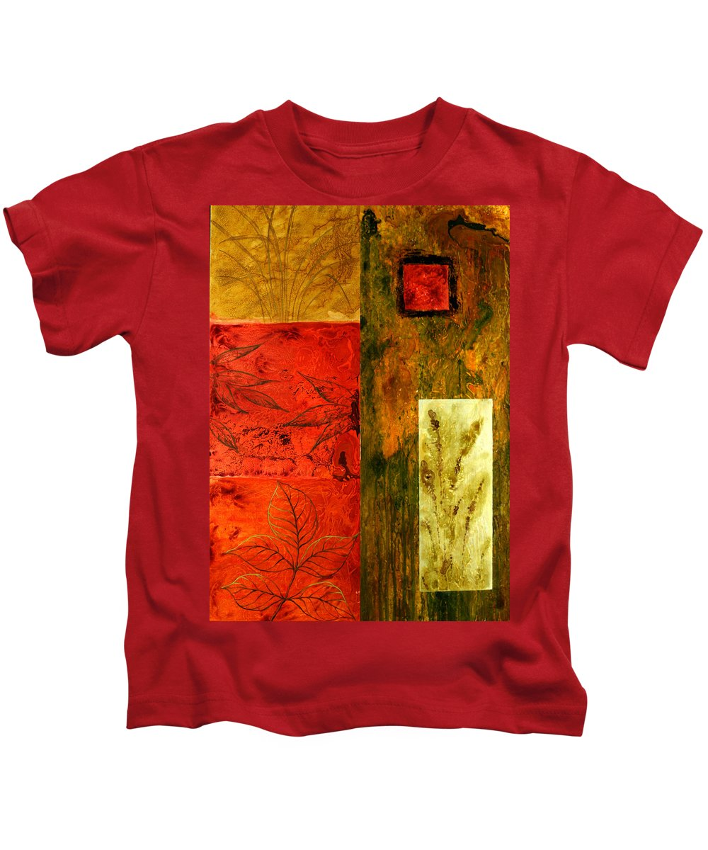 Color Image Environment Growth Illustration Illustration And Painting Leaf Nature Nobody Simplicity Three Objects Vertical Color Colour Development Drawing Natural Plant Uncomplicated Organic Decorative Art Kids T-Shirt featuring the painting Music Of The Fall by Leon Zernitsky
