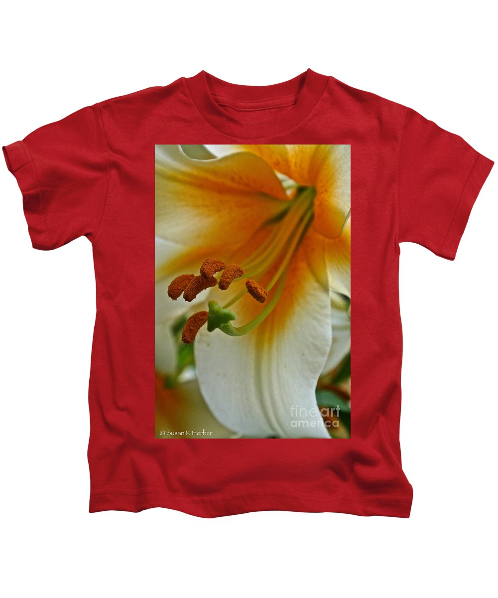 Outdoors Kids T-Shirt featuring the photograph Orange Interior by Susan Herber