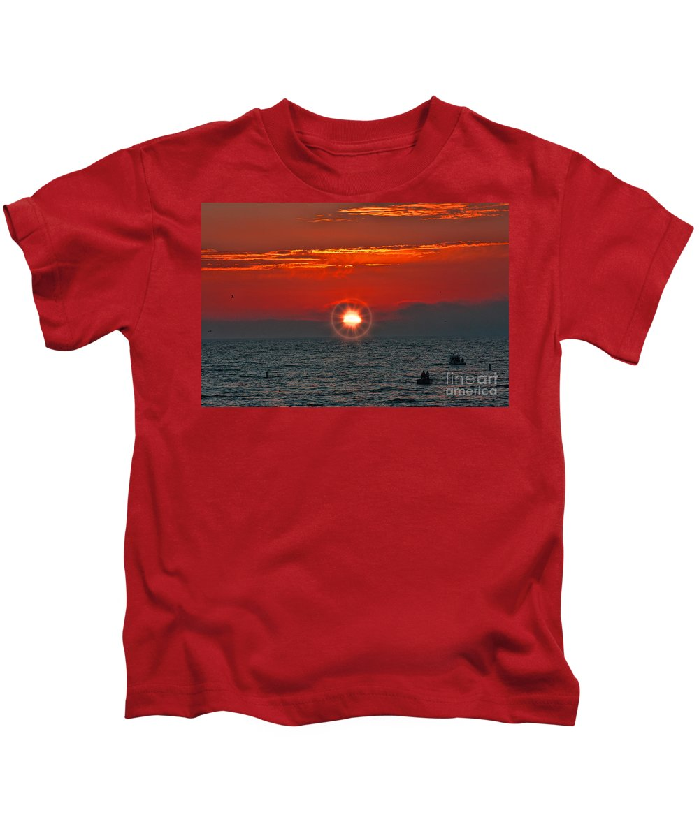 Pacific Kids T-Shirt featuring the photograph Pacific Sunset by Tommy Anderson
