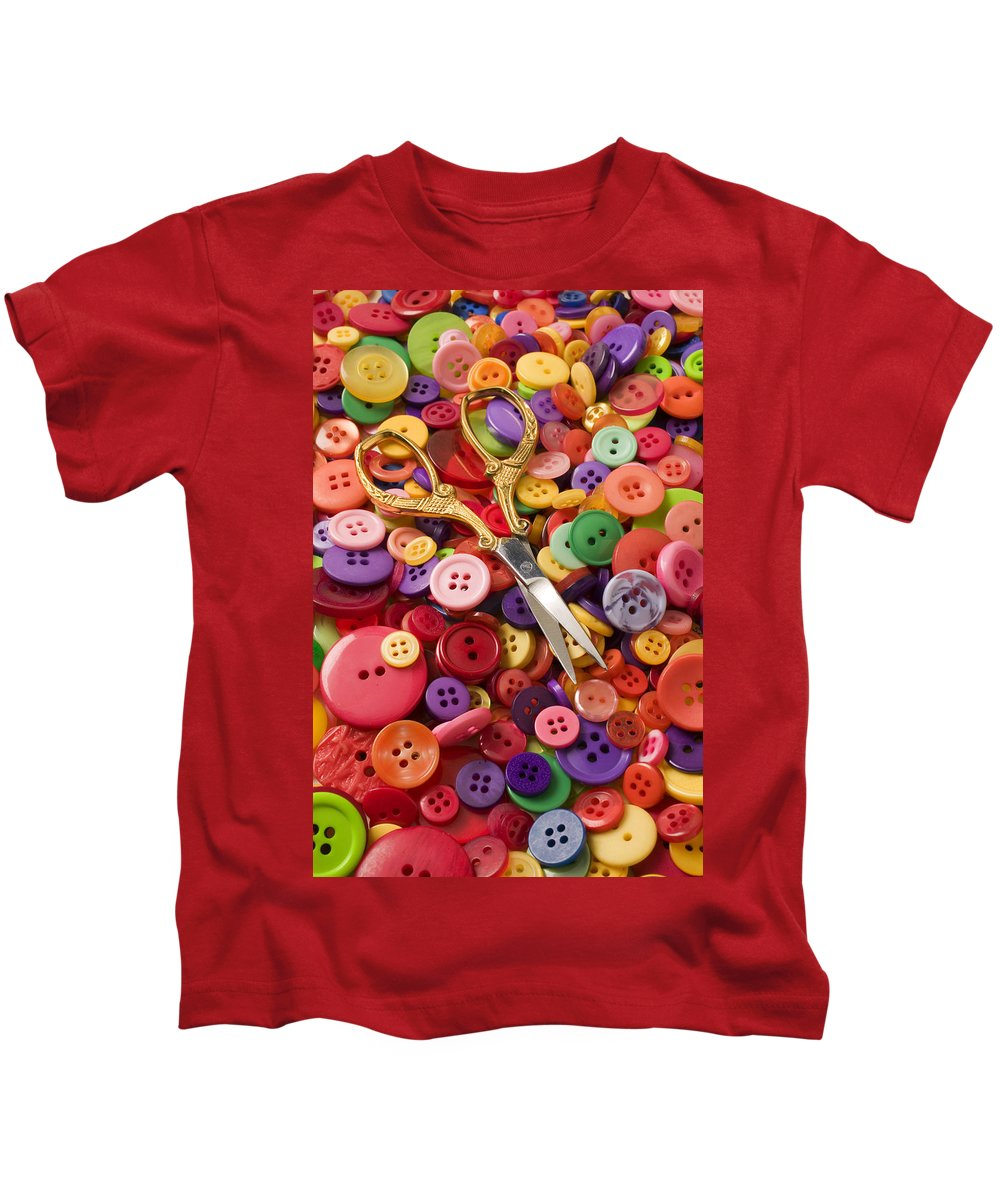 Button Kids T-Shirt featuring the photograph Pile Of Buttons With Scissors by Garry Gay