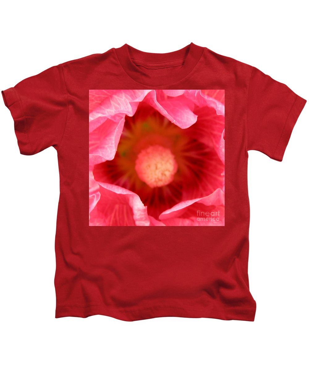 Pink Kids T-Shirt featuring the photograph Pink Hollyhock 2 by Lainie Wrightson