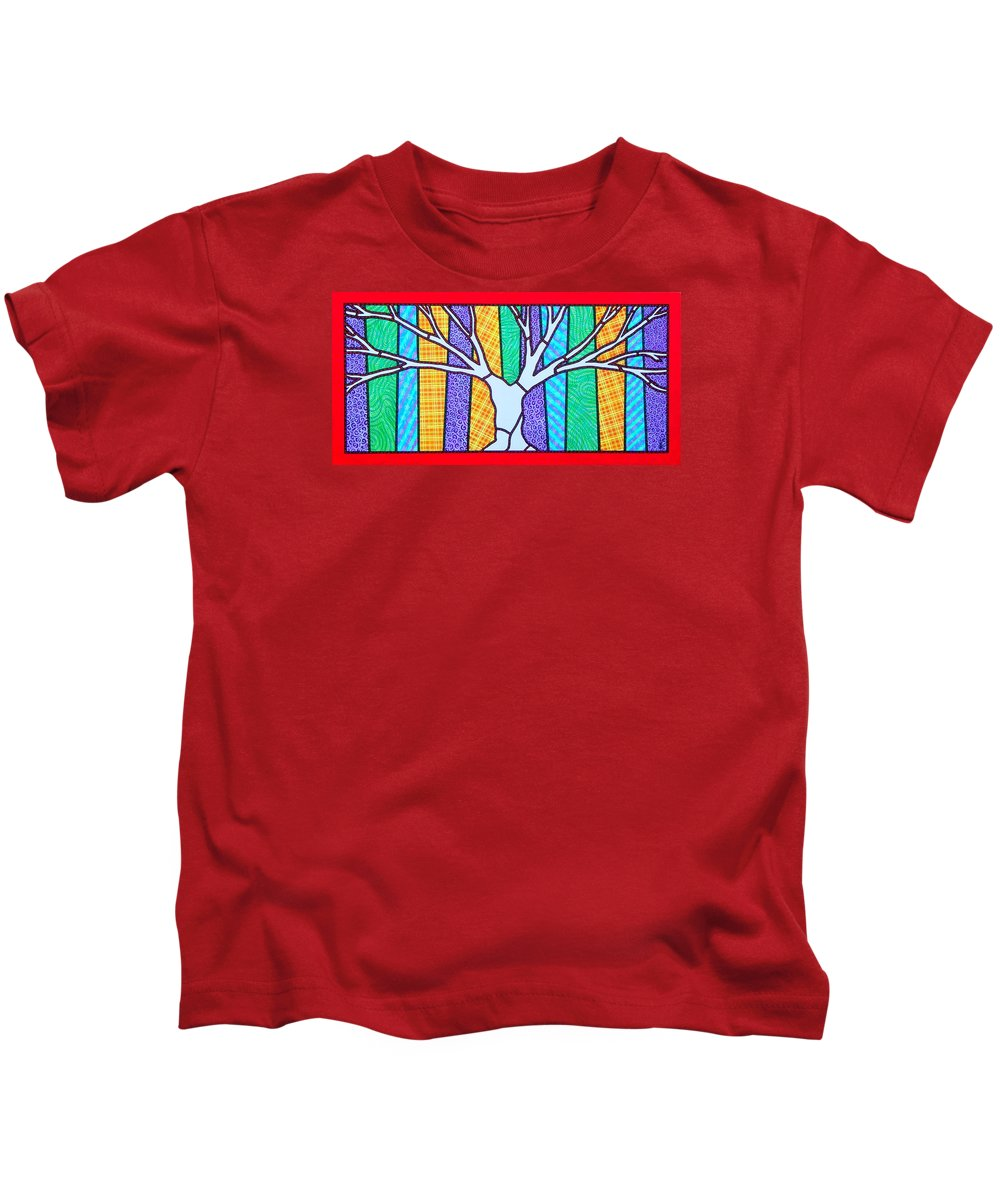 Tree Kids T-Shirt featuring the painting Quilted Winter Tree by Jim Harris