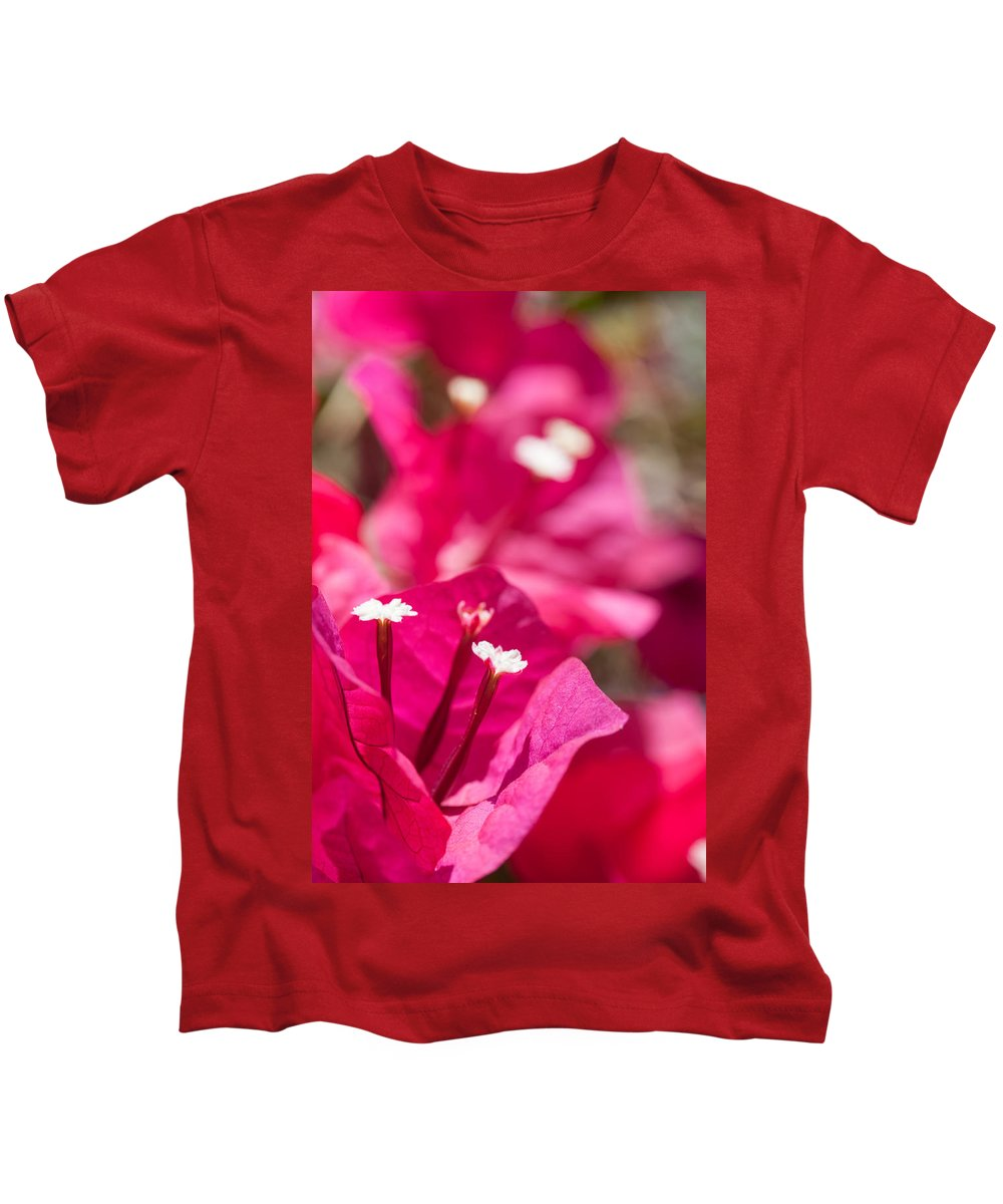 Ralf Kids T-Shirt featuring the photograph red Bougainvillea by Ralf Kaiser